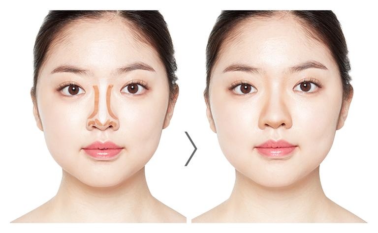 鼻筋、顔の中央部分のコントゥアリング