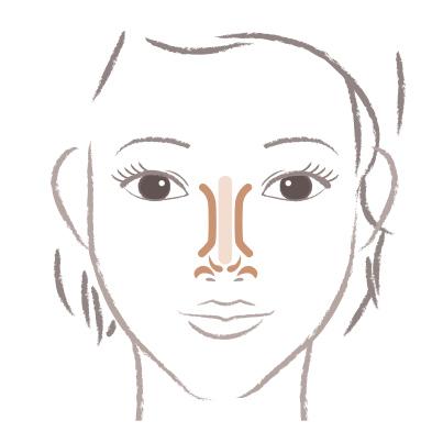 鼻筋、顔の中央部分のコントゥアリングの解説