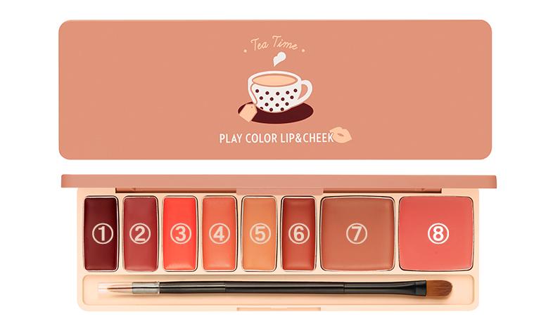 プレイカラー チーク&リップ パレット カラーバリエーション ティータイム
